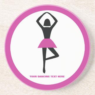 Dancing ballerina black, hot pink custom coaster