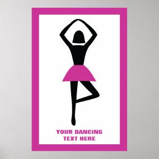 Dancing ballerina black, hot pink custom poster