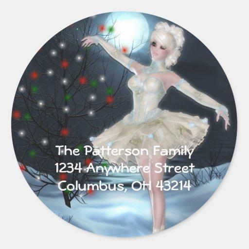 Dancing Ballerina Christmas Return Address Labels Stickers