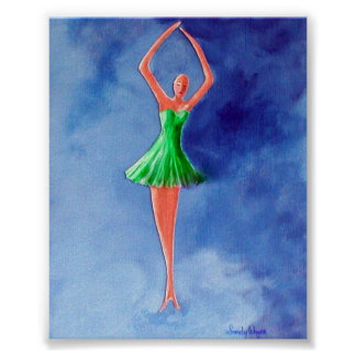 Dancing Ballerina, Green Poster