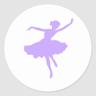 Dancing Ballerina in Lilac Periwinkle Classic Round Sticker