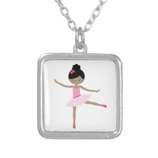 DANCING BALLERINA SILVER PLATED NECKLACE