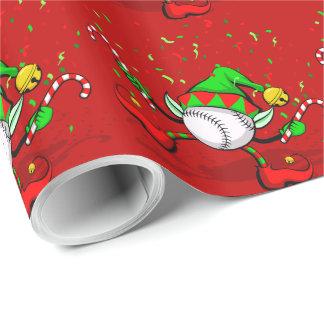 Dancing Baseball Christmas Elf Wrapping Paper