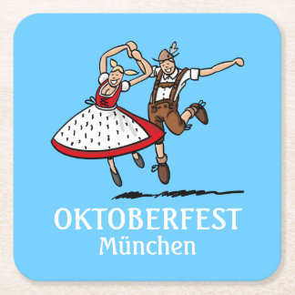 Dancing Bavarian Oktoberfest Couple Square Paper Coaster