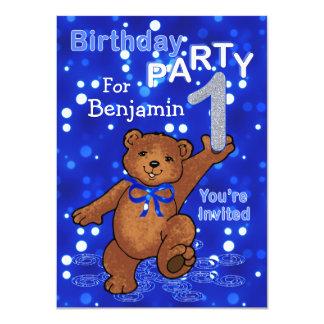 Dancing Bears 1st Birthday Party for Boys Custom Invitation