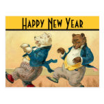 Dancing Bears New Years Wishes Postcard