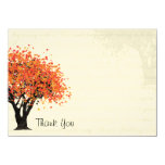 Dancing Blooms Autumn Tree Thank You Flat Card 11 Cm X 16 Cm Invitation Card