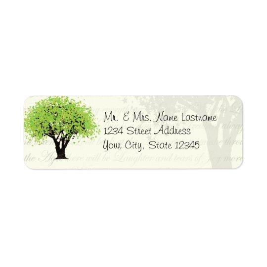 Dancing Blooms Green Tree Address Return Address Label