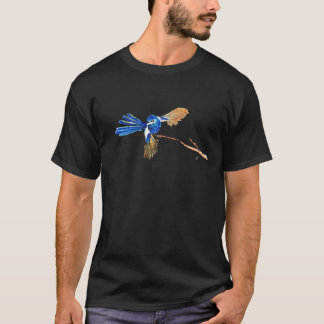 Dancing Blue Fairy Wren Australian Bird T-Shirt
