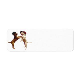 Dancing Bull Terrier Return Address Label