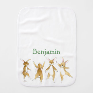 Dancing Bunnies - Personalized Burp cloth