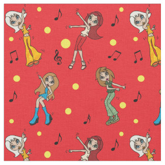 Dancing Cartoon Girls Fabric