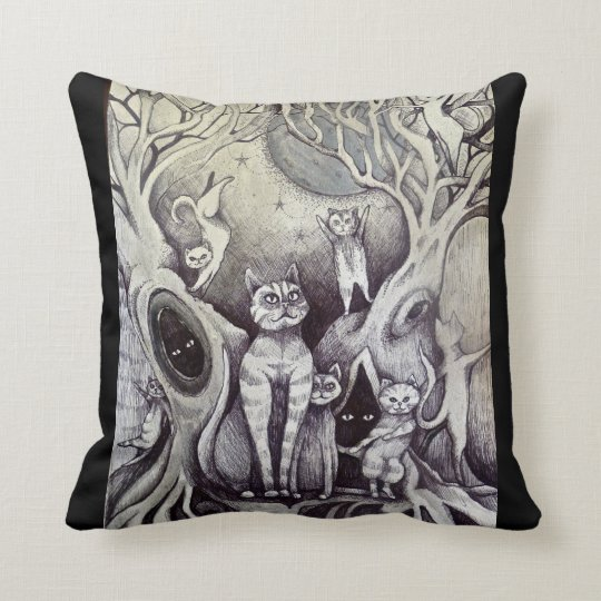 dancing cats cushion moon & stars