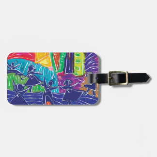 Dancing children luggage tag