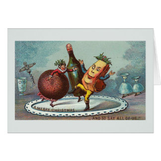"""Dancing Christmas Food !"" Vintage Card"