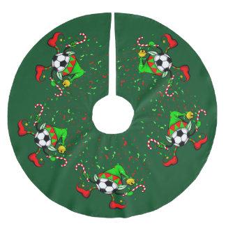 Dancing Christmas Soccer Elf Brushed Polyester Tree Skirt