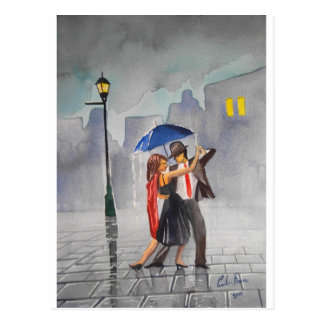 DANCING COUPLE UMBRELLA POSTCARD