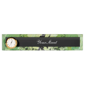 Dancing couple with roses on green background name plate