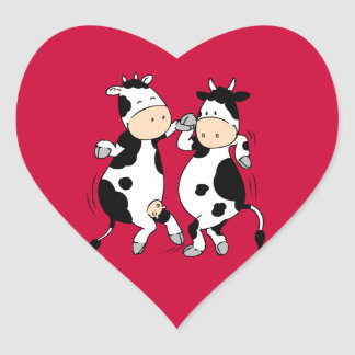 Dancing Cows (mooviestars) Heart Sticker
