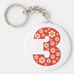 Dancing Daisies Number Three Birthday Keychain
