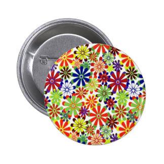 Dancing Daisies Retro Design 6 Cm Round Badge