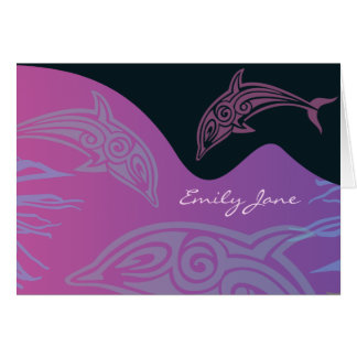 DANCING DOLPHINS Folded Thank You Card-pink Card