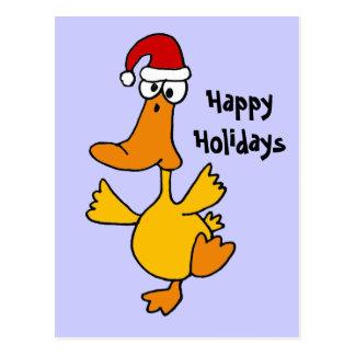 Dancing Duck Christmas Design Postcard