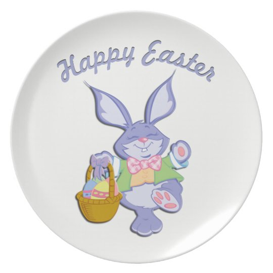 Dancing Easter Bunny Happy Easter Plate