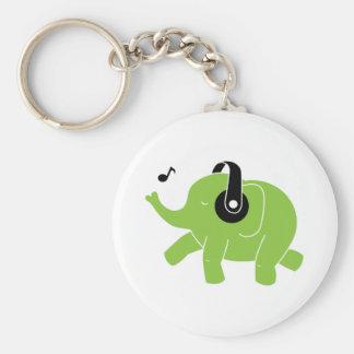 Dancing Elephant Basic Round Button Key Ring