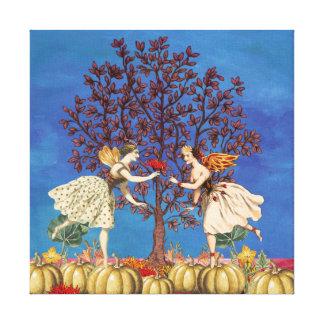 Dancing Fairy Friends Pumpkin Patch Flower Canvas Print