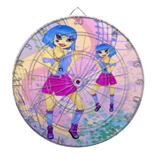 Dancing fashion illustration with bright blue hair dartboard