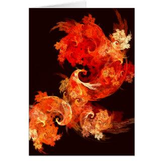 Dancing Firebirds Abstract Art Greeting Card