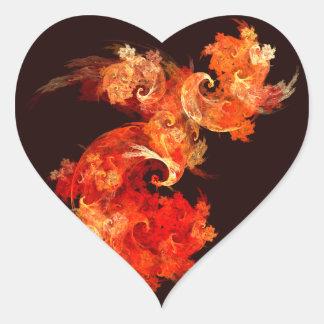 Dancing Firebirds Abstract Art Heart Sticker