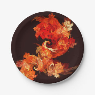 Dancing Firebirds Abstract Art Paper Plate