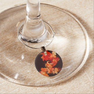 Dancing Firebirds Abstract Art Wine Charm