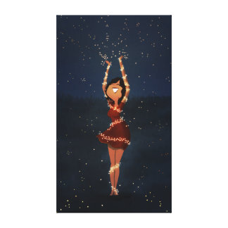 "Dancing fireflies art ""Thank you"" Ex Large Stretched Canvas Prints"