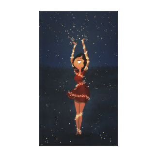 "Dancing fireflies art ""Thank you"" Large Stretched Canvas Print"