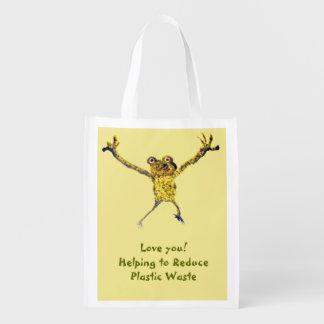 Dancing Frog Art Reusable Grocery Bag