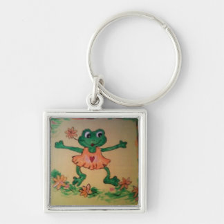 Dancing frog Silver-Colored square key ring
