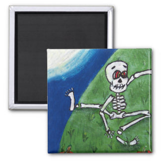 Dancing Funny Skeleton Moon Magnet