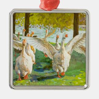 Dancing Geese Metal Ornament