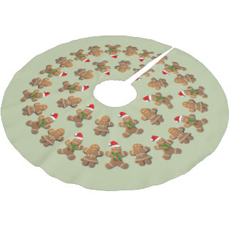 Dancing Gingerbread Cookies Brushed Polyester Tree Skirt