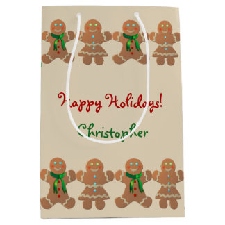 Dancing Gingerbread Cookies Medium Gift Bag