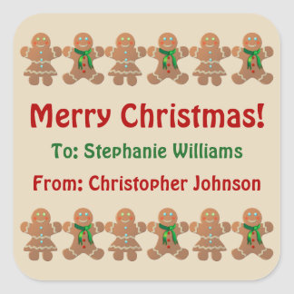 Dancing Gingerbread Cookies Square Sticker