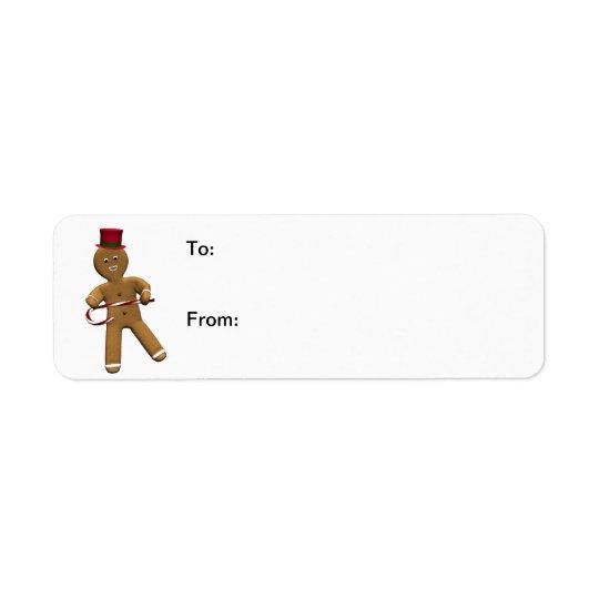 Dancing Gingerbread Man Gift Labels