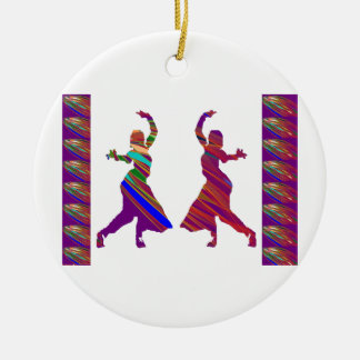 DANCING Girls :  Indian Bollywood Style Dance Round Ceramic Decoration
