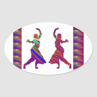 DANCING Girls :  Indian Bollywood Style Dance Oval Sticker