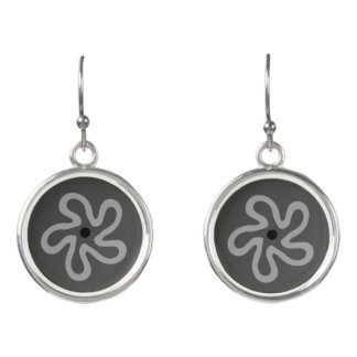Dancing Gray Floral Abstract Drop Earrings