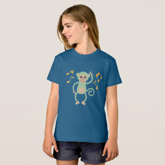 Dancing green monkey blue girly shirt
