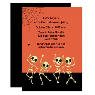 Dancing Halloween Skeletons Invitation